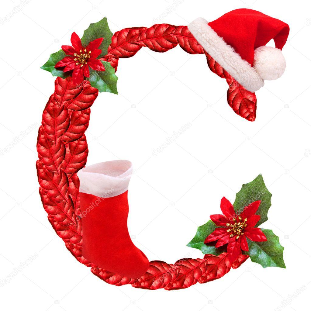 Christmas letter c with santa claus cap one part of great - Alphabet de noel ...