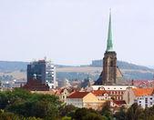 Pilsen skyline with great gothic cathedhral st. Bartholomew