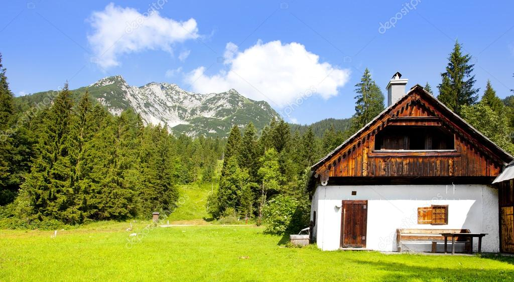 Wooden house in Alps landscape