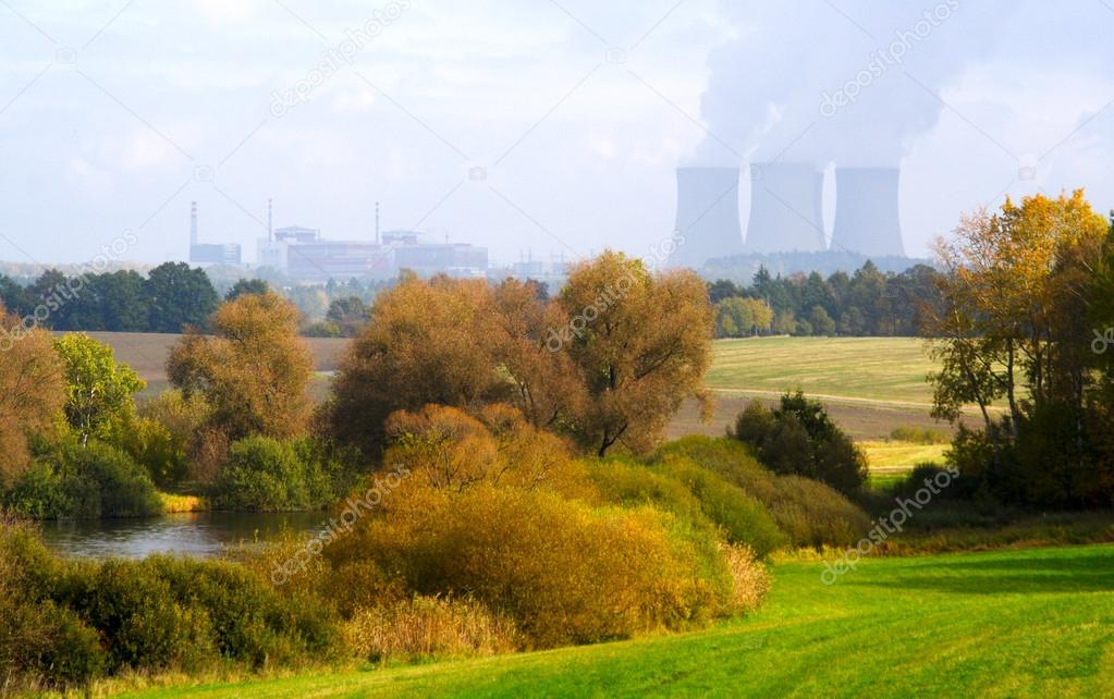 Landscape with nuclear power plant