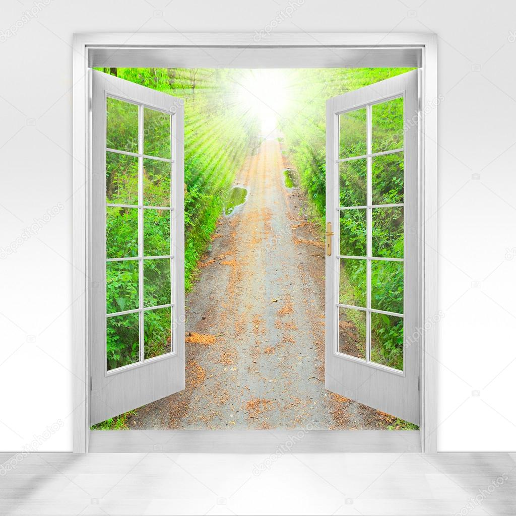 Opened door to beautiful forest - conceptual image - environmental business metaphor. u2014 Stock Photo & Opened door to beautiful forest - conceptual image - environmental ... pezcame.com