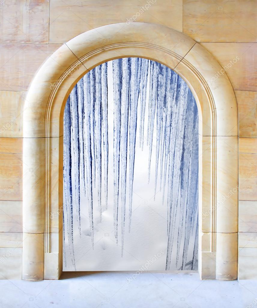 Opened door to arctic winter