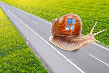 Funny picture of a snails with mobile home on the road. Easy travel metaphor.
