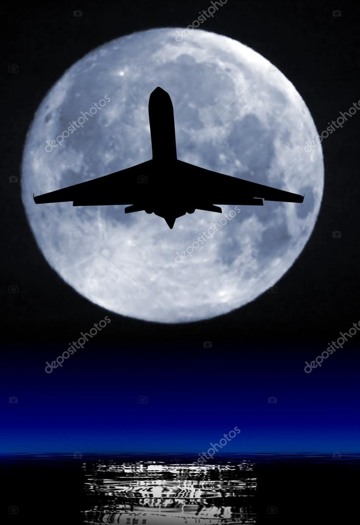 Moon and airliner silhouette.