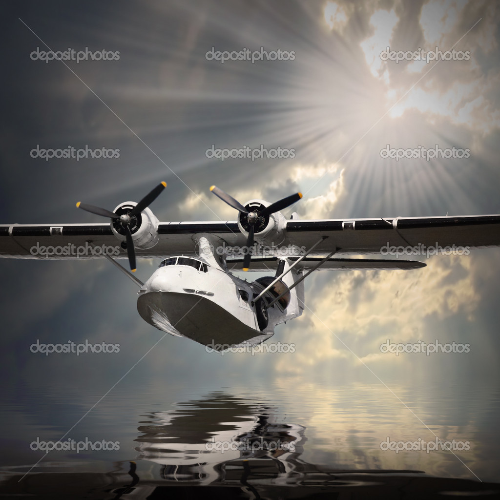 Seaplane over sea