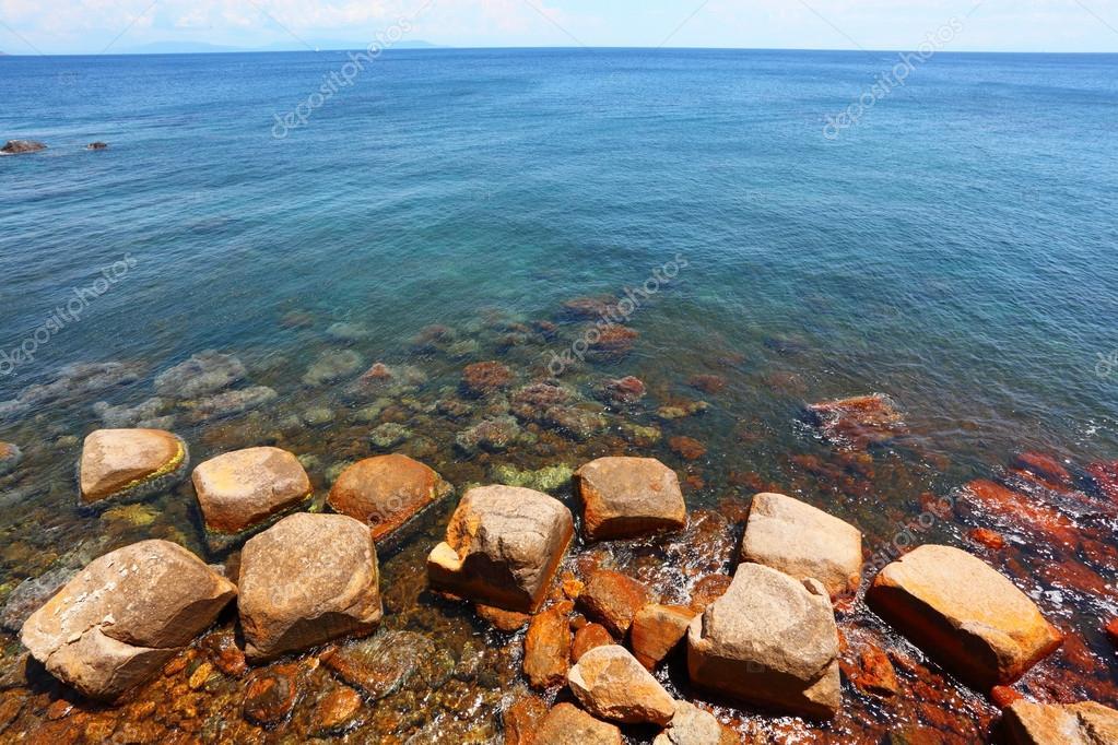 Iron ore on Island of Elba coast.