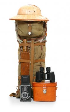 Vintage gear for camping in the wilderness.