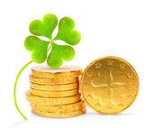 Fotografie zlaté mince se Čtyřlístek