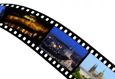 Travel shots from Prague City in Czech Republic - Europe on film strip. stock vector