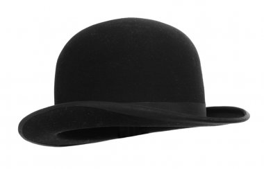 Black bowler hat against white background stock vector