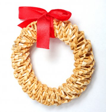 Straw wreath, christmas greeting.