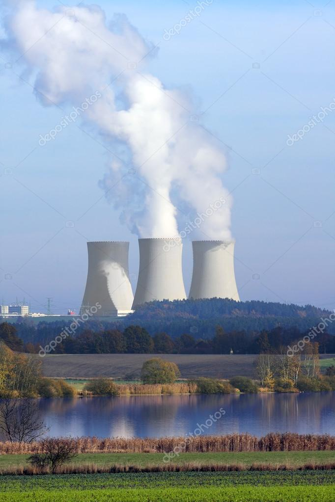 Rural South Bohemian landscape with nuclear power plant