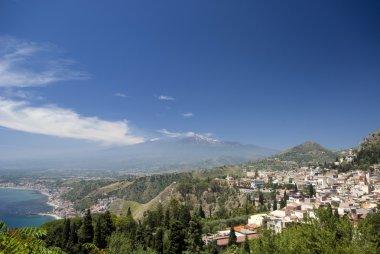 panoramic view of taormina and mt. etna
