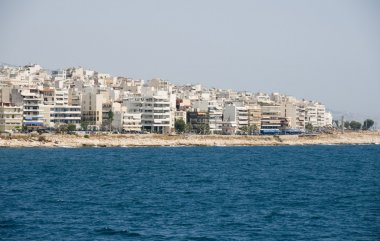 view of metropolitan area of athens greece from the port