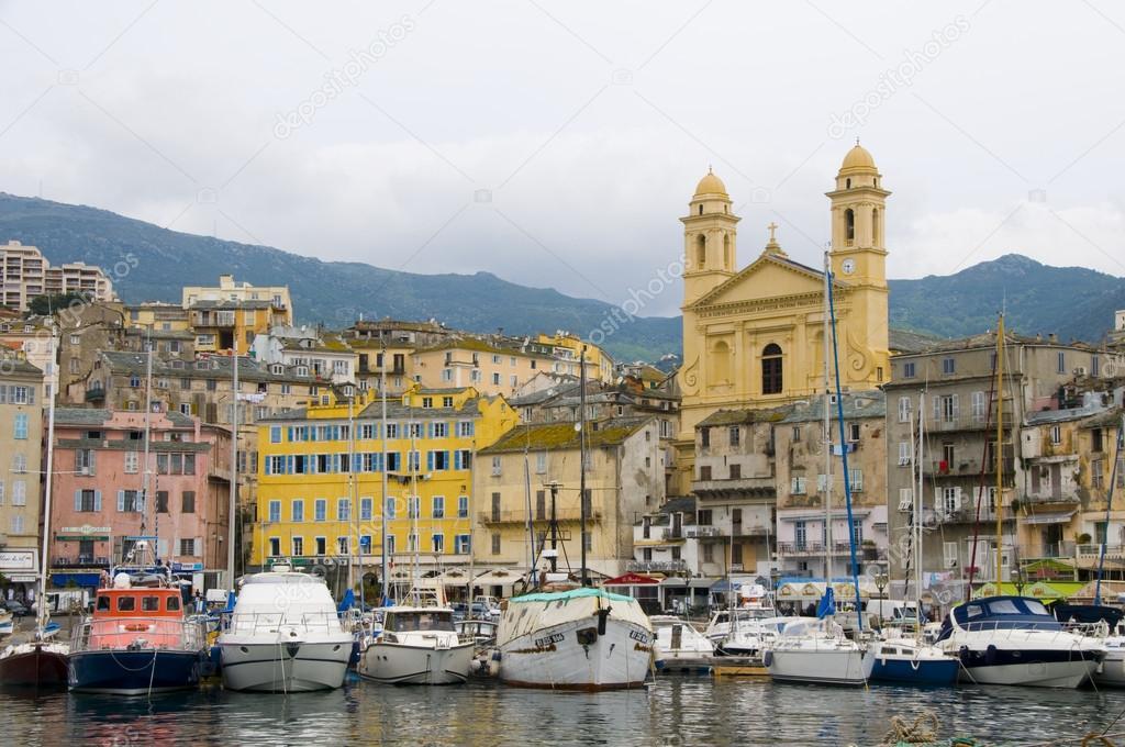 Old Port Bastia Corsica France With St John The Baptist Church