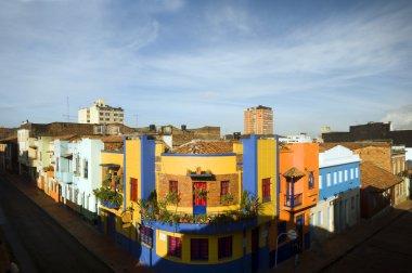 rooftop view La Candelaria Bogota Colombia colorful architecture