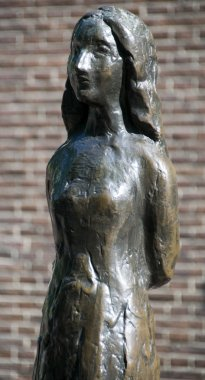 Statue of Anne Frank amsterdam holland