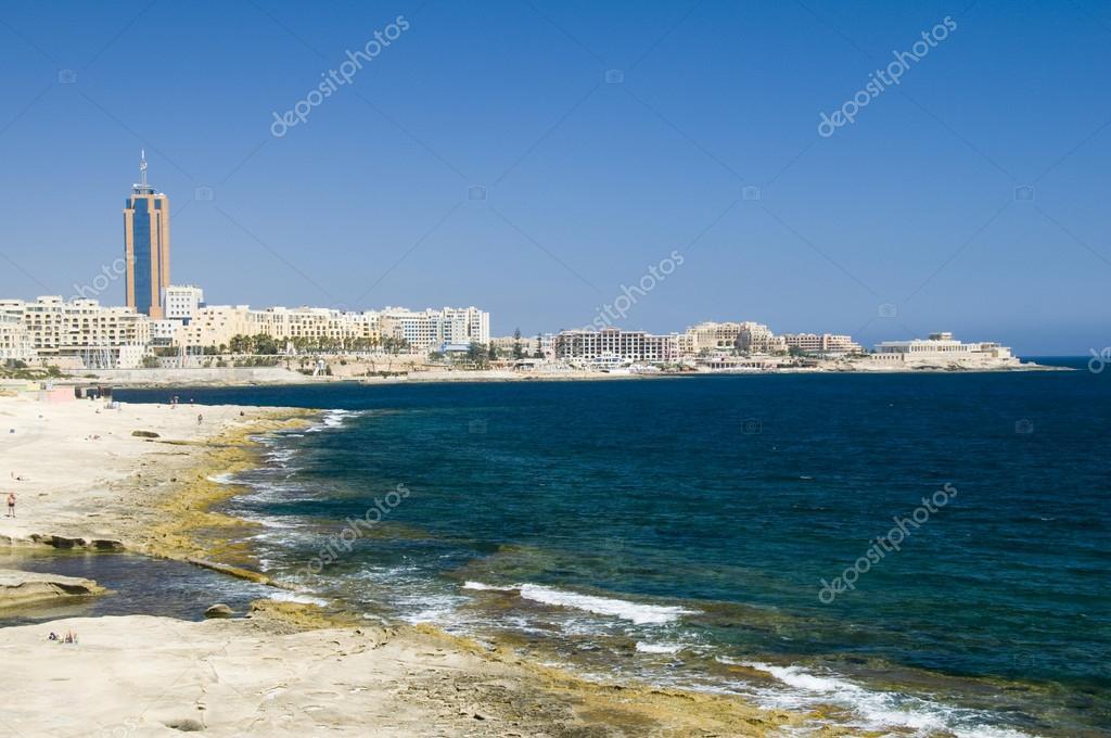 limestone coastline view of st. julians malta