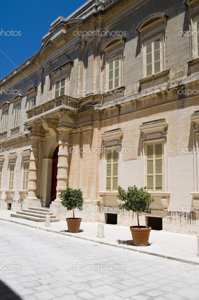 Palazzo di malta mdina casa testaferrata foto stock for Piani di casa di palazzo