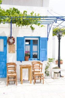 outdoor greek cafe setting greece islands
