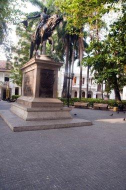 Statue Simon Bolivar in Bolivar Park Cartagena de Indias Colombia