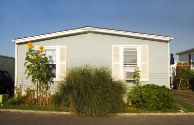 mobile homes in trailer park condominium oceanfront in Montauk Long Island New York the Atlantic Ocean