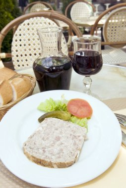French food pate terrine of rabbit with red wine in cafe