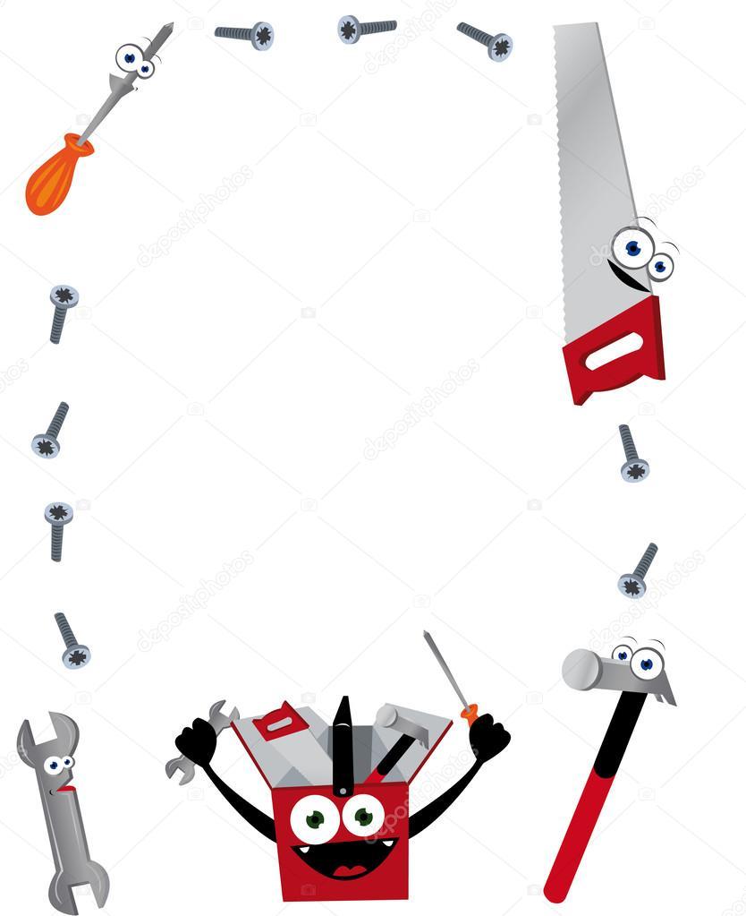marco vertical herramientas graciosos — Archivo Imágenes Vectoriales ...