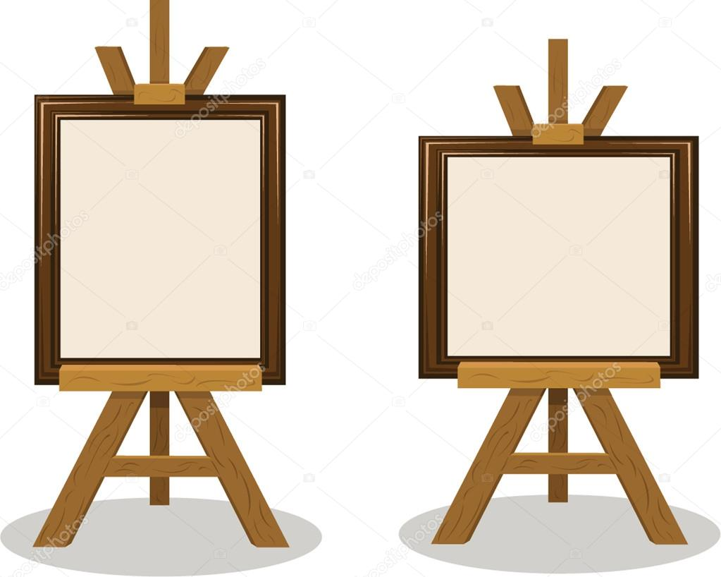 Wooden Easel with Empty Frames — Stock Vector © pcanzo #14019596