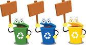 Fotografia segni e bidoni di riciclaggio divertente