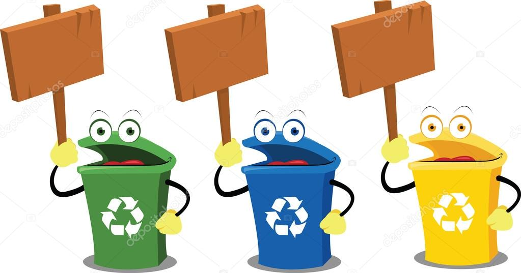 Signos y contenedores de reciclaje graciosos vector de - Cubos para reciclar ...