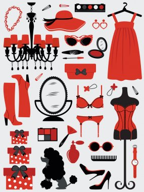 A fashion women accessories collection clip art vector