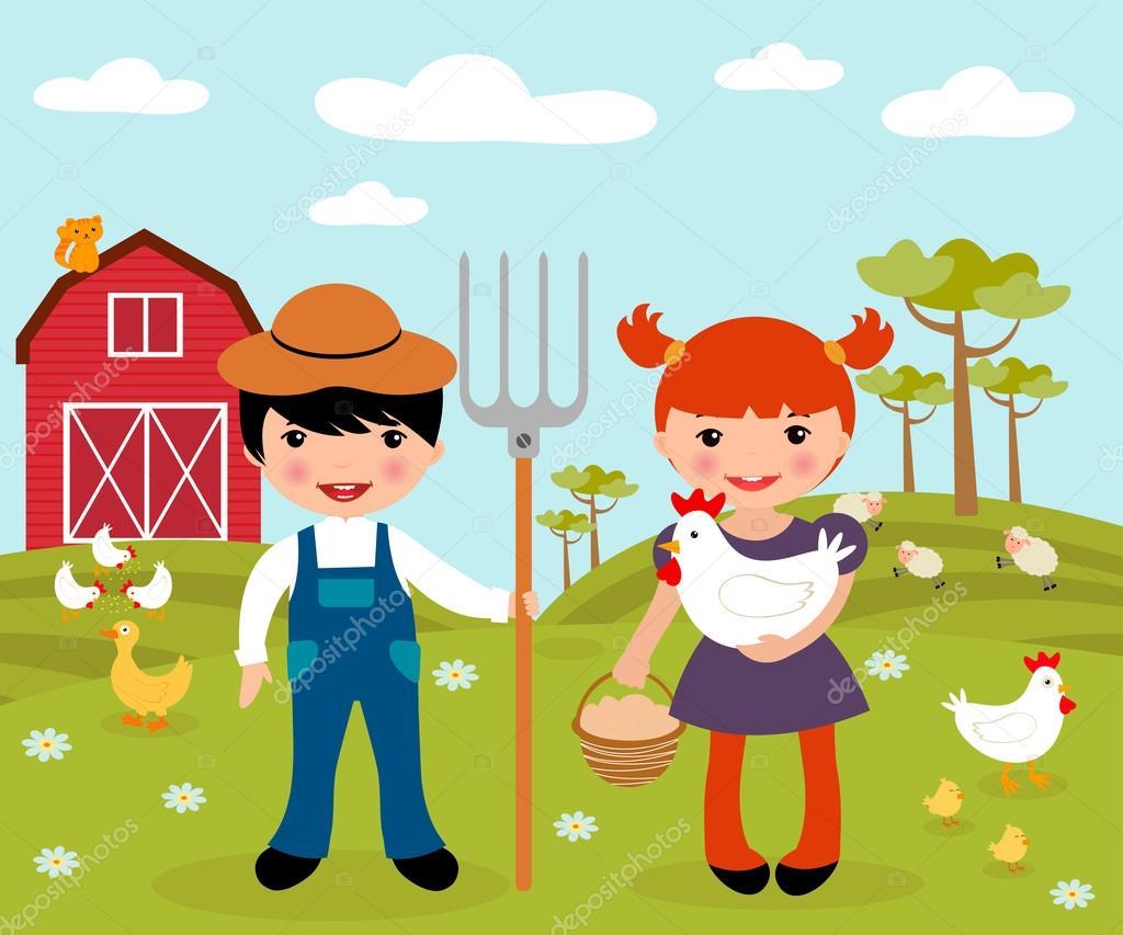Cute little farmers at farm