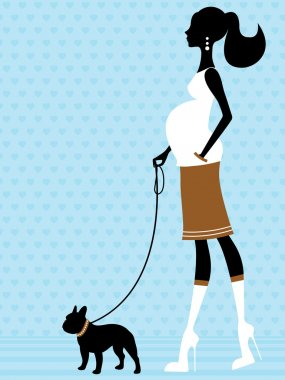 Chic pregnant woman with french bulldog
