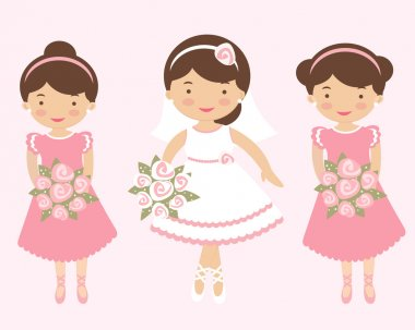 An illustration of Beautiful bride with two bridesmaids clip art vector