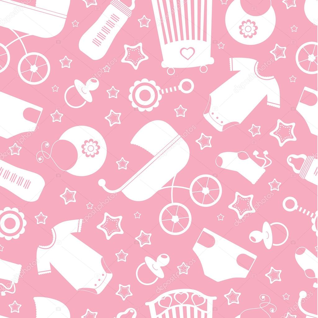 Pink baby shower seamless background — Stock Vector ...
