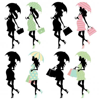 Stylish Pregnant ladies silhouettes set clip art vector