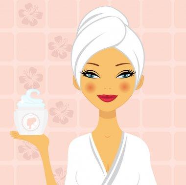 A vector illustration of a beautiful woman holding a moisturizing cream clip art vector