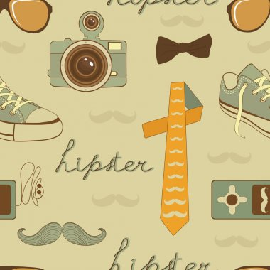 Hipster elements seamless pattern