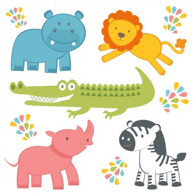 Cute jungle animals collection