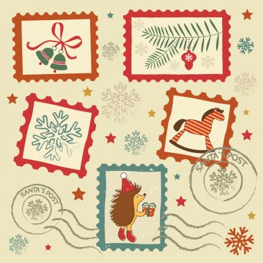 Retro christmas stamps