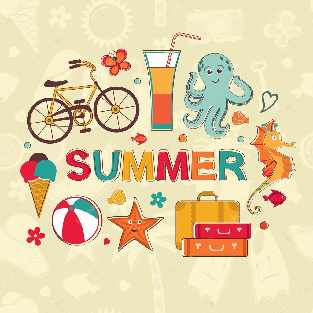 Summer cartoon set