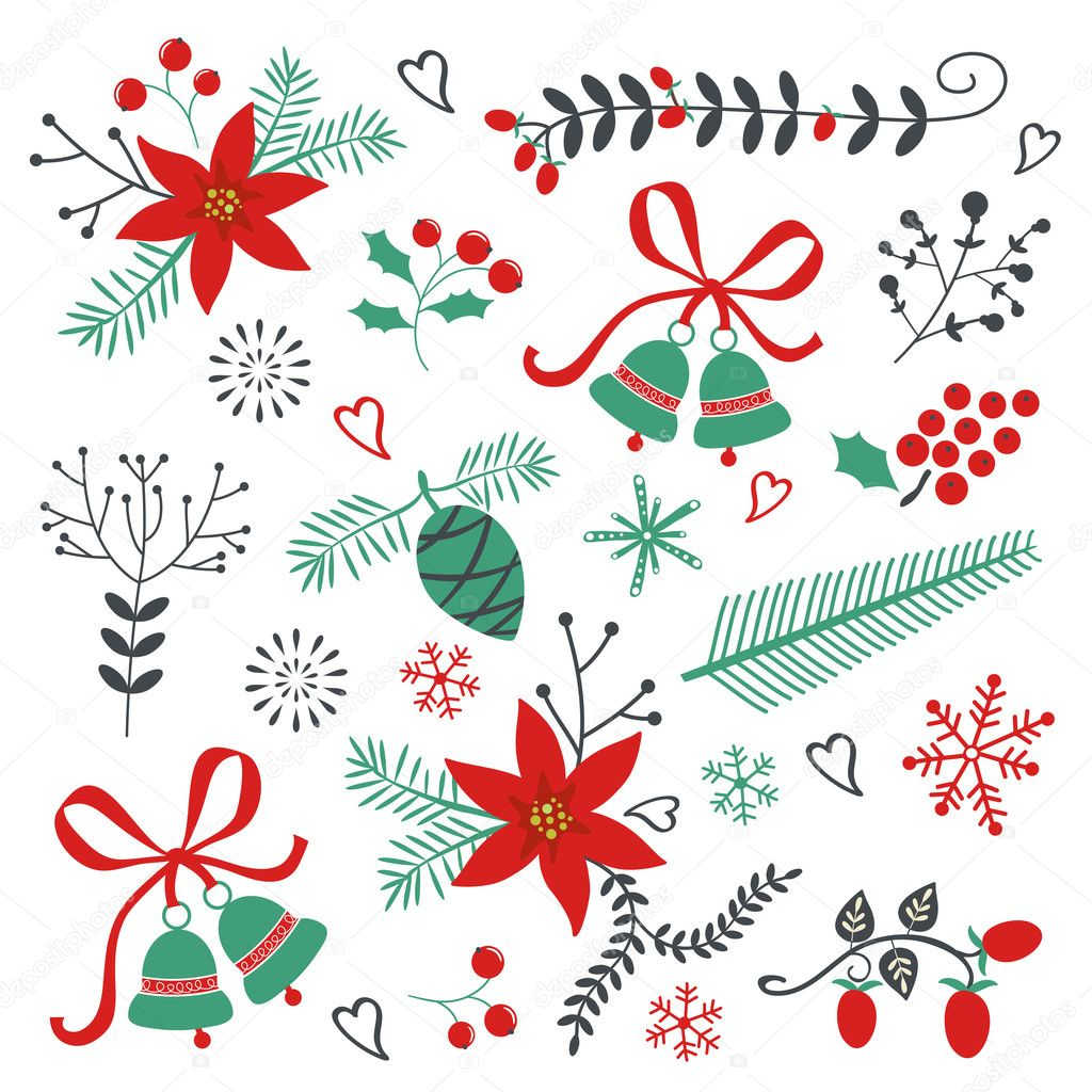 Collection of Christmas and New year elements