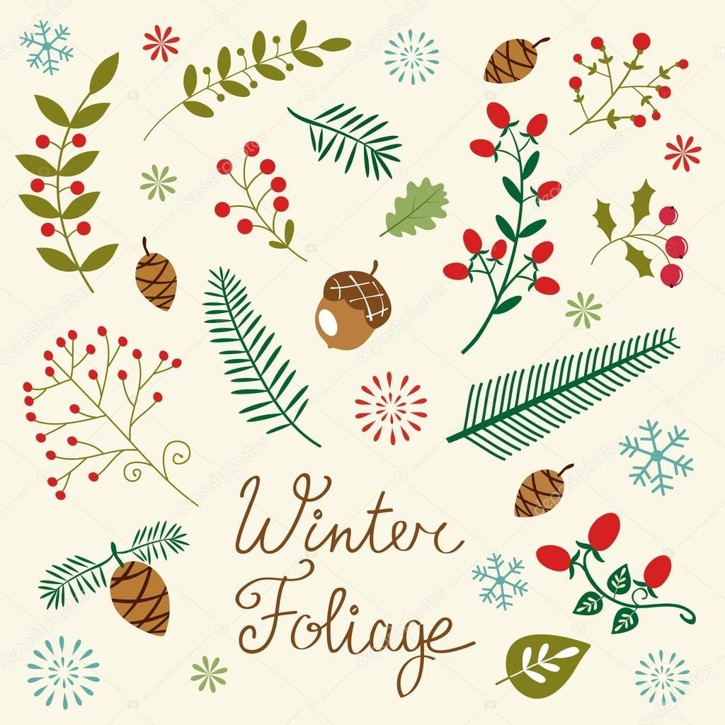 Winter foliage set
