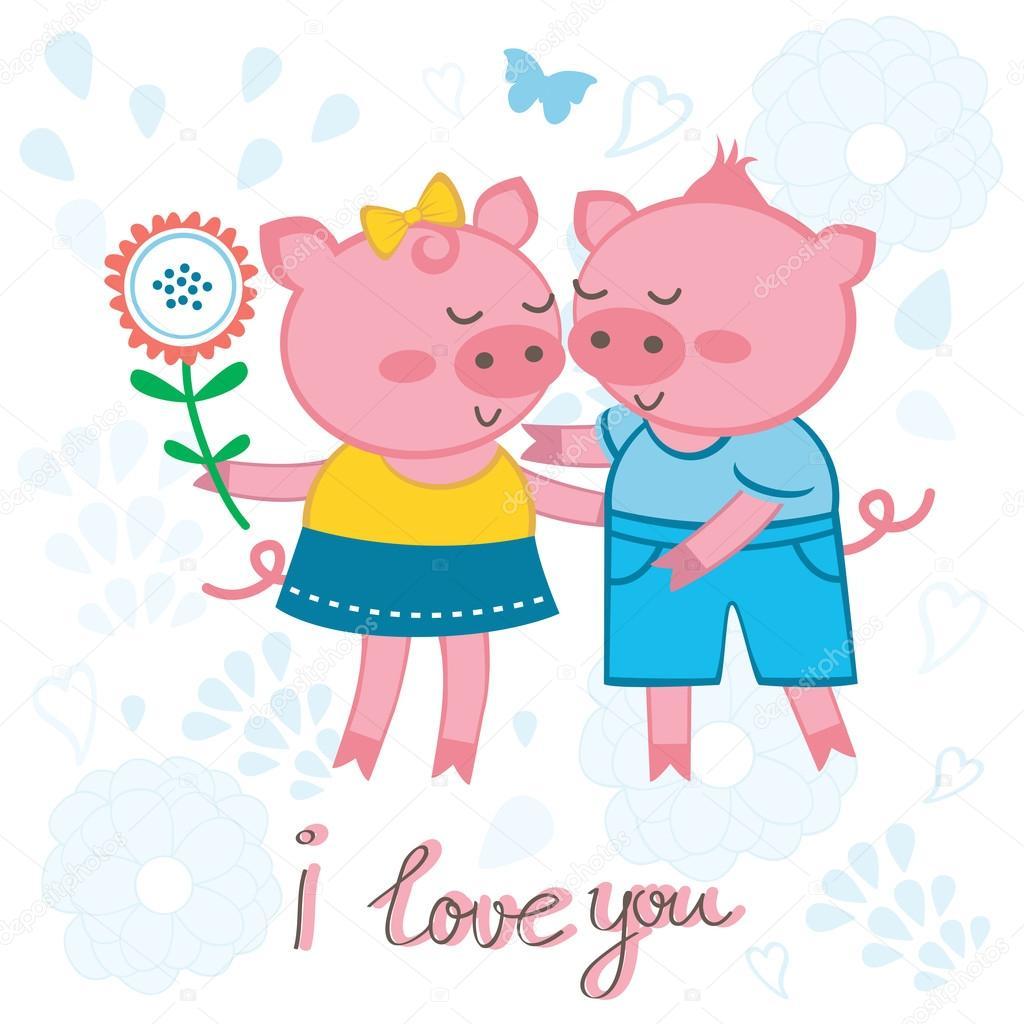 Cute pigs in love
