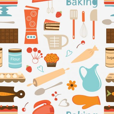 Colorful seamless bakery pattern. Vector format clip art vector