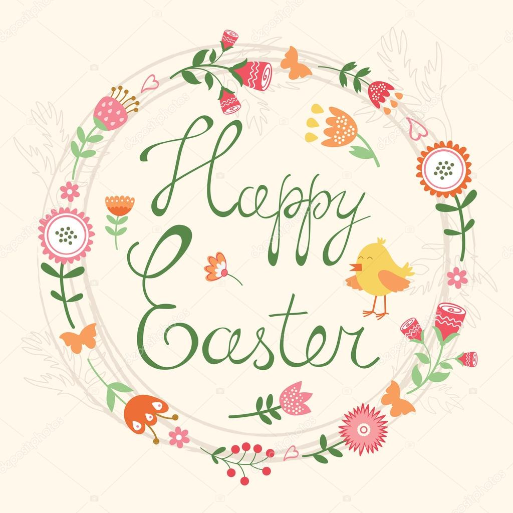 Easter card with wreath