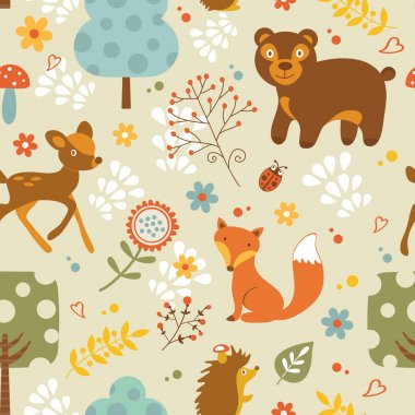 Colorful woodland animals seamless pattern stock vector