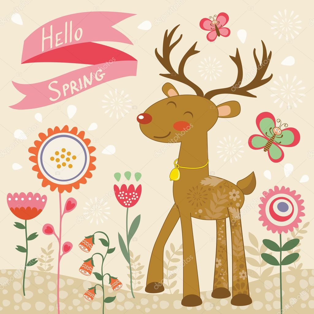 Hello spring card with deer