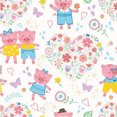 Seamless pattern with cute pigs